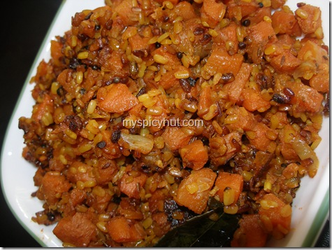 Carrot pesarapappu kura/ carrot  Moong dal curry