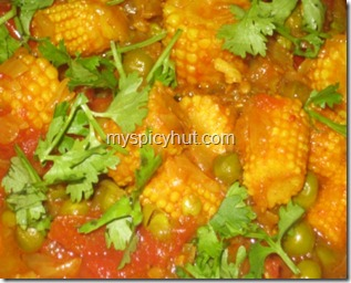 babycorn greenpeas tomato2 thumb Baby corn curry