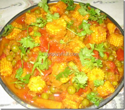 babycorn greenpeas tomato4 thumb Baby corn curry
